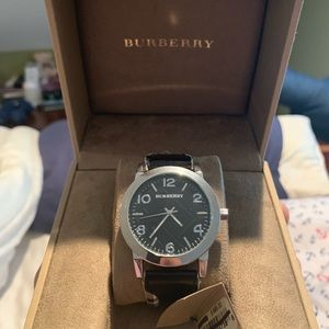 NWT Burberry Watch, check with leather stitching
